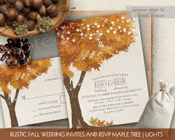 Rustic Fall Wedding Invitations Kit Autumn Oak Tree With Leaves Invitation Digital Printable Set