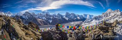 mountain ranges of himalayas early morning panorama from the peak of gokyo ri overlooking the