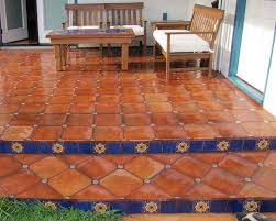 mexican floor tile combined with talavera tile inserts mexican