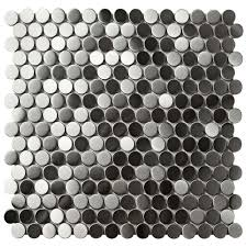 Home Depot Merola Hex Tile by Merola Tile Alloy Penny Round 11 7 8 In X 11 7 8 In X 8 Mm