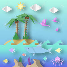 Origami Style Crafted Out Of Paper Cut Shark Palm Birds