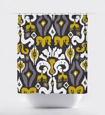 Yellow White And Gray Curtains by Gray And Mustard Yellow Fabric Shower Curtain Aztec Shower