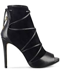 guess women u0027s ayana peep toe lace up booties in black lyst