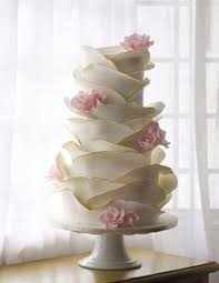 Amazing Wave Like Icing On This Beautiful Wedding Cake With Pink Flower Accent