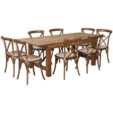 HERCULES Series 7' X 40'' Folding Farm Table Set With 8 Cross Back Chairs  And Cushions Timelessly Charming Farmhouse Style Fniture For Your Home Interior Rustic Round Ding Table 6 Ideas 30 House X30 Inch Modern Farm Wood You Kitchen Extraordinary Narrow Room Black Chairs Photos And Pillow Weirdmongercom Hercules Series 8 X 40 Antique Folding Four Bench Set Luxury Affordable Grosvenor Wooden With Gray White Wash Top Classic Base Criss Cross Includes Two Benches E Braun Tables Inc Back Burlap Cushions Amish Sets Etc
