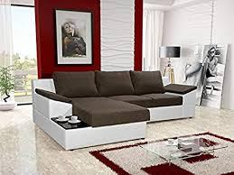 orpheus braun und weiß kunstleder stoff große sitzecke mit bettkasten liegefläche kaffee tisch wohnzimmer möbel sofas sofa betten