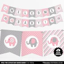 Pink Elephant Baby Shower Banner Girl Baby Banner Pink And Gray Baby Shower Decorations Baby Girl Decor Printable Garland