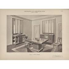 French Art Deco Interior Dining Room Lithograph For Sale