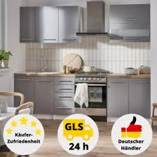 details zu küchenzeile küche grau hochglanz komplett set küchenblock einbauküche 2 m küche