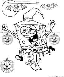 Spongebob Halloween Coloring Pages Printable Drawing