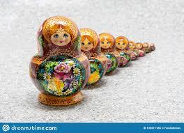 100 Matryoshka Kitchen Row Of Traditional Russian Nested Dolls Editorial