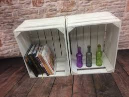WHITE Painted European Apple Box Fruit Crate Shabby Chic