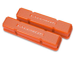 Holley Vintage Series Chevrolet Script Valve Cover- Orange-Classic ...
