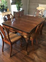 Antique Dining Room Solid Wood Table With 6 Chairs For Sale In Kansas City MO