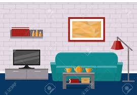 wohnzimmer wohnung interieur vektor hintergrund wohndesign mit möbel couchtisch tv bild