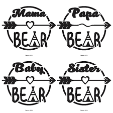 Mama Bear Papa Baby Sister Brother Vinyl Decals NOW Available Starting At 5 Free Shipping