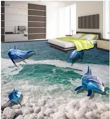 pvc waterproof floor 3d stereoscopic marine fish floor tiles