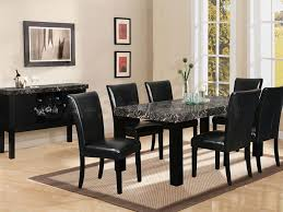 Compelling Black Dining Room Sets Including Leather Chairs And Ceramic Table Mixed With Classic