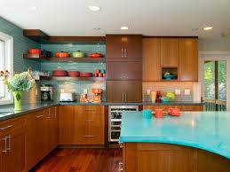 Blue Mid Century Modern Kitchen Countertops In A Fabulous With Wooden Counters And Cabinets