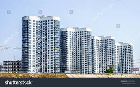 100 Glass Modern Houses Construction New Apartment Few Stock Photo