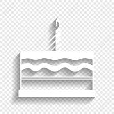 Birthday cake sign Vector White icon with soft shadow on transparent background Stock