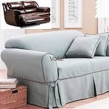 reclining sofa slipcover ribbed texture chocolate adapted for dual