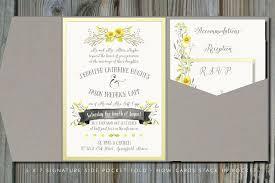 Summery Yellow Gray Pocket Fold Wedding Invitation
