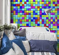 abstrakte wandtapete regenbogen würfel