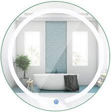 tangkula led spiegel 50 8 cm rund wandhalterung kreis badezimmer schlafzimmer wc beleuchtet eitelkeit make up wandspiegel
