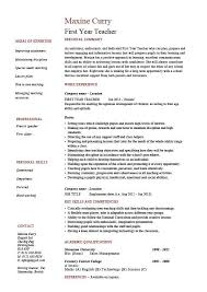 First Year Teacher Resume School Sample Example Templates Job With Regard