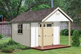 12x16 Shed Plans Material List by 16 U0027 X 12 U0027 Cabin Shed Covered Porch Plans Plueprint P61612 Free