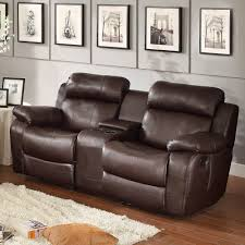 Darrin Leather Reclining Sofa With Console by Leather Loveseat With Console Great Deals On Seatcraft Transformer