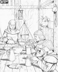 Scene From Inside The House Of A Humble Family Peasants To Lunch Coloring Page
