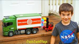 Bruder Trucks Surprise Toy Unboxing: Tractor Trailer + Forklift ...