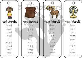 Free CVC Word Family Bookmarks