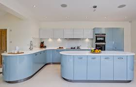Baby Blue Modern Kitchen With White Counters And Flooring