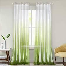 lindong farbverlauf voile vorhang transparent gardinen mit ösen dekoschal für wohnzimmer schlafzimmer 1er pack grün 140x225cm