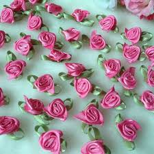 HL 100pcs Fushia Color Ribbon Rose Handmade Flowers Garment Supplies Sewing Appliques Diy Accessories Wedding Decoration