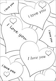 Click To See Printable Version Of I Love You Hearts Coloring Page
