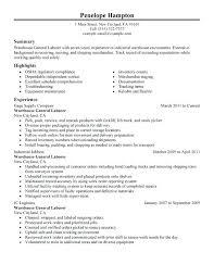 Warehouse Resume Example General Labor Sample Job Description