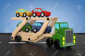 100 Toy Car Carrier Truck Wooden Coloured S Rier Trailer On A Blue Background