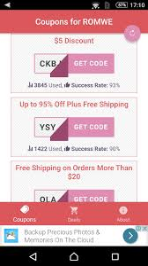 Coupons For Romwe For Android - APK Download Fashion Coupons Discounts Promo Coupon Codes For Grunt Style Coupon Code 2018 Mltd Free Shipping Cpap Daily Deals Romwe Android Apk Download Romwe Deck Shein Code 90 Off Shein Free Shipping Puma Canada Airborne Utah Coupons Zaful Discount 80 Student Youtube Black Friday 2019 Ipirations Picodi Philippines