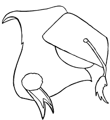 Graduation Cap And Diploma Outline Coloring Pages