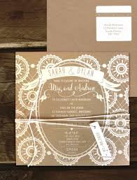 Rustic Lace White Ink On Kraft Black Invite
