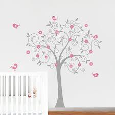 stickers chambre bébé arbre oiseaux fleurs arbre mur decal sticker mural papier peint vinyle