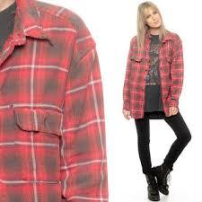 Oversized Flannel Shirt 80s Plaid Red Brown Lumberjack Grunge Vintage Long Sleeve Women Men