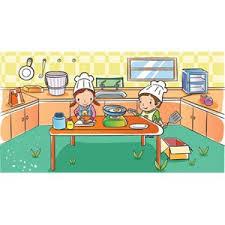 Two Cute Beautiful School Children Working In Kitchen Vector Kids Illustration Free Download