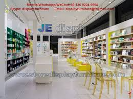 Pharmacy Store Display Panel Furniture In White MDF Counters With Colorful Acrylic Storage Cabinet