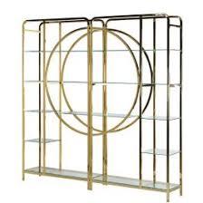 luxuriöses modernes bücherregal aus goldenem metall klarem glas regal gold