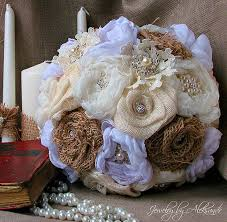 Wedding Rustic Brooch Bouquet Burlap Roses And Silk Flower Country